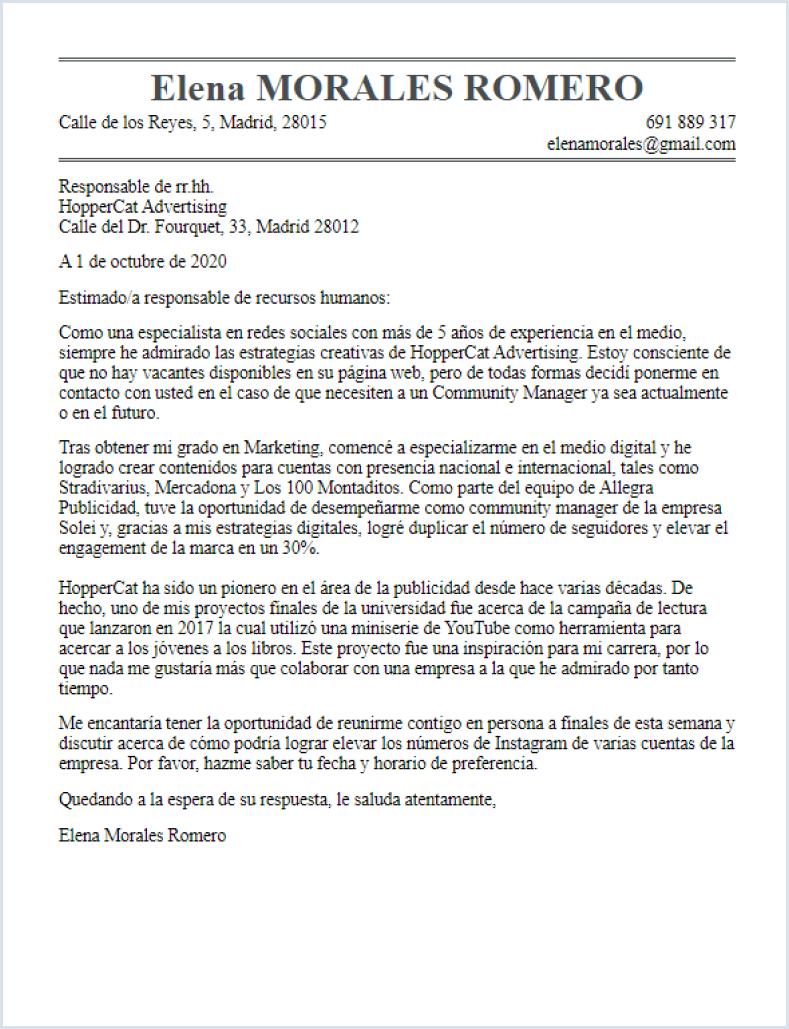 Carta de presentación clásica