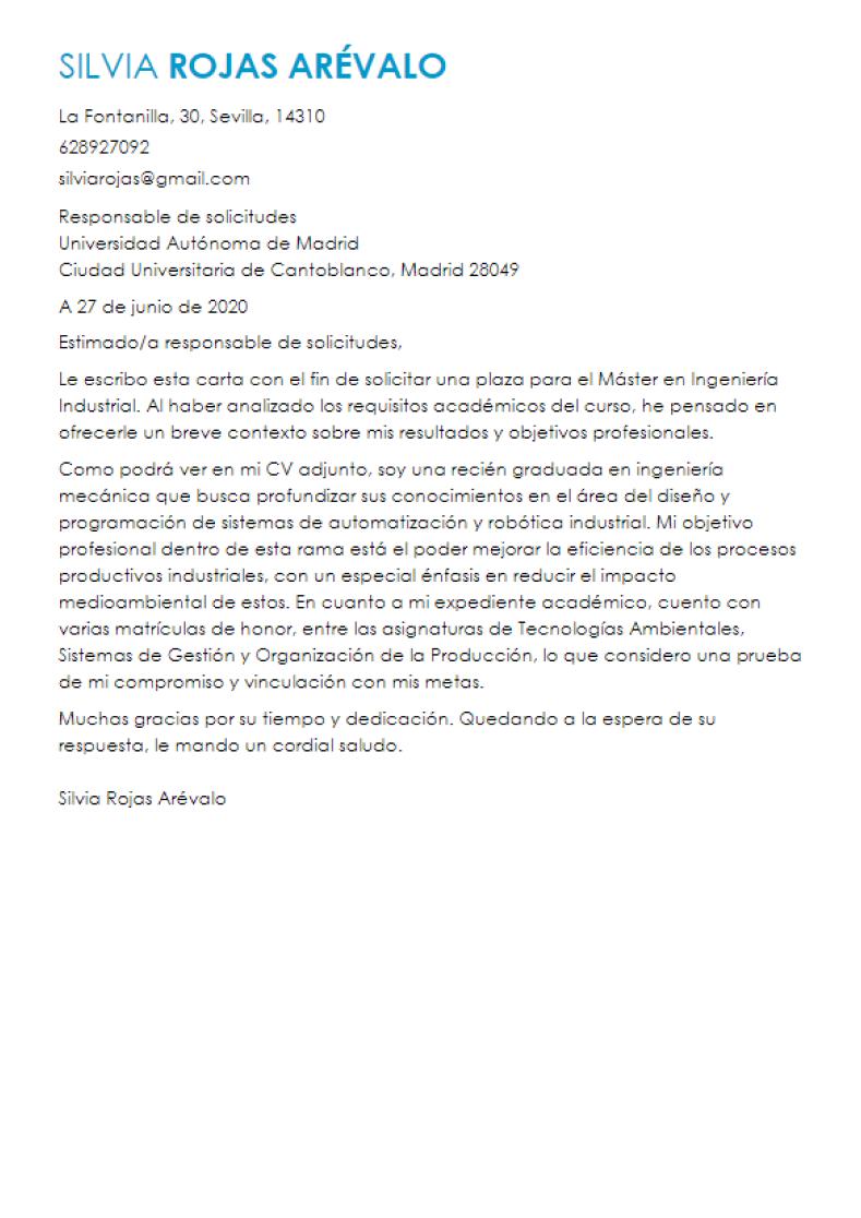 ejemplo de carta de presentación para máster