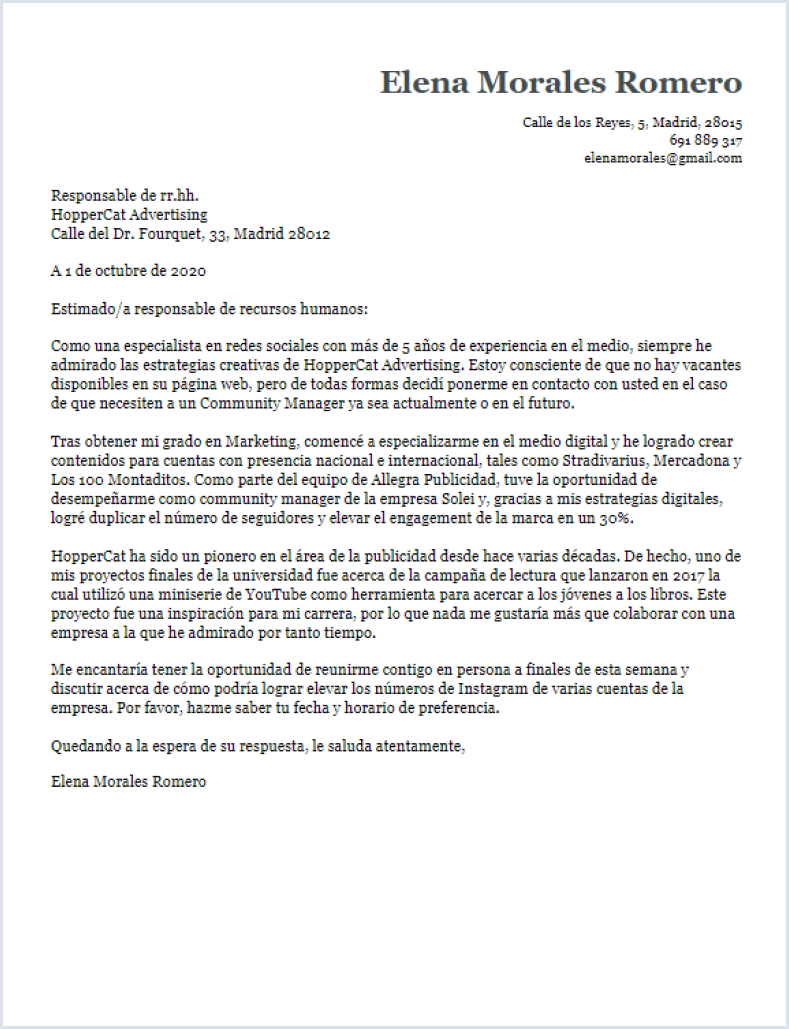 Carta de presentación original