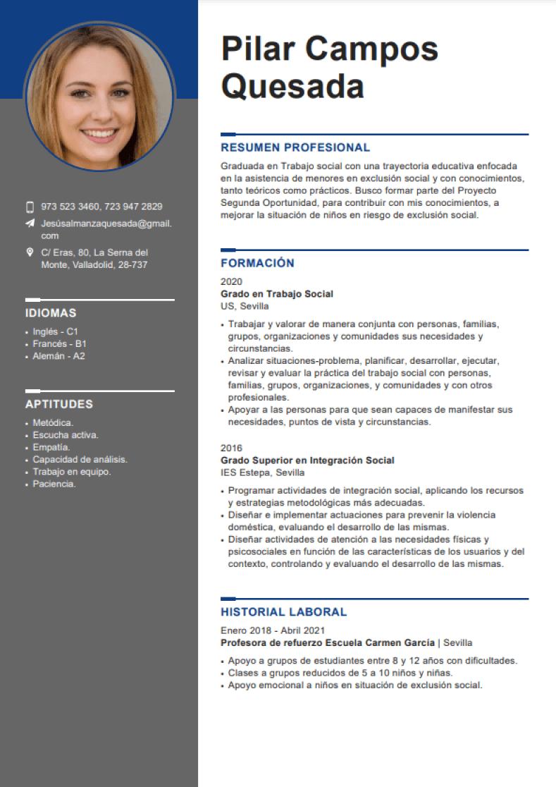 ejemplo de currículum europeo