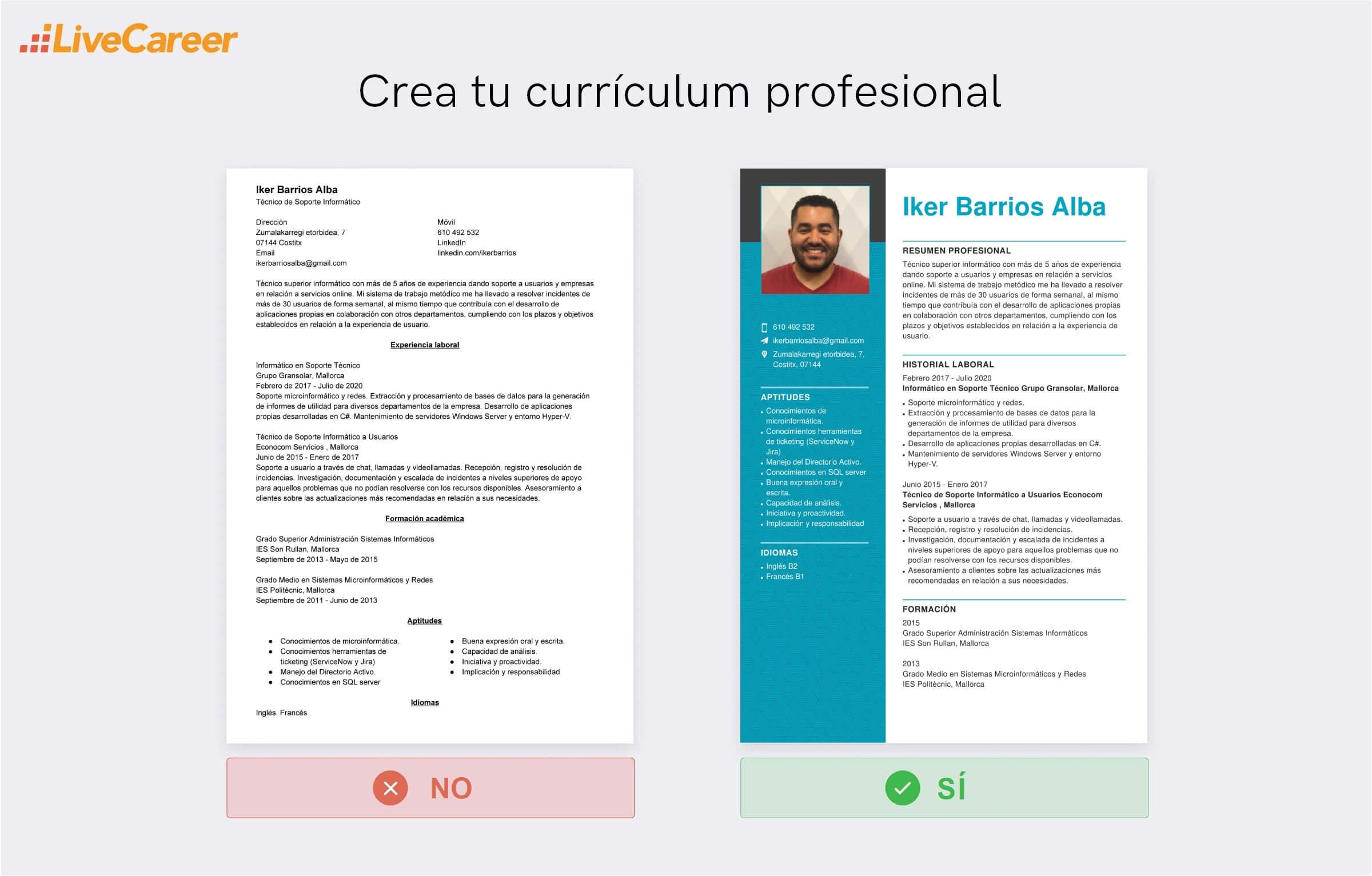currículum de un informático