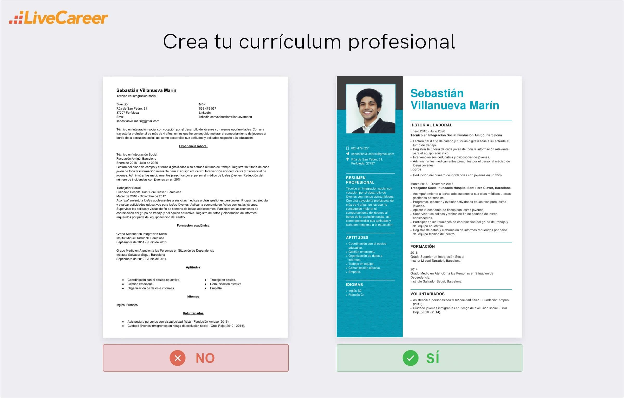 Curriculum vitae de integrador social