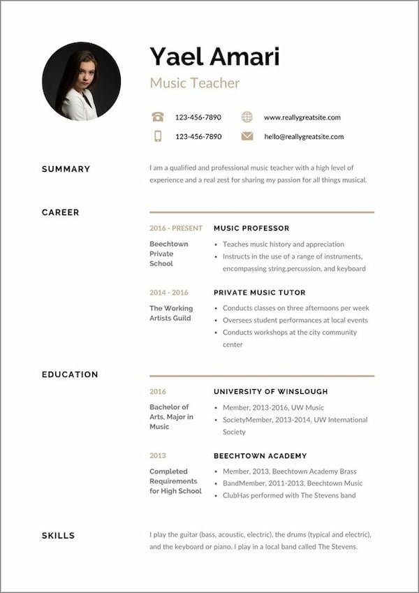 curriculum vitae pdf
