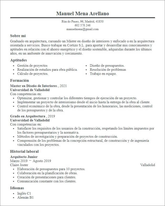 plantilla curriculum estudiante